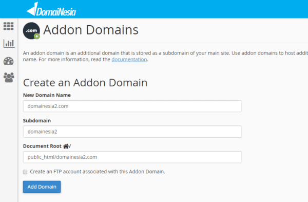 create add-on domain